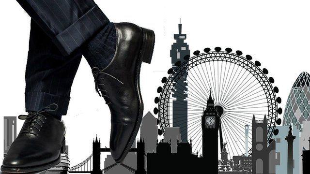 Man in suit in London, illustration