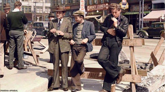 Desempleados en una calle de San Francisco, EE.UU.