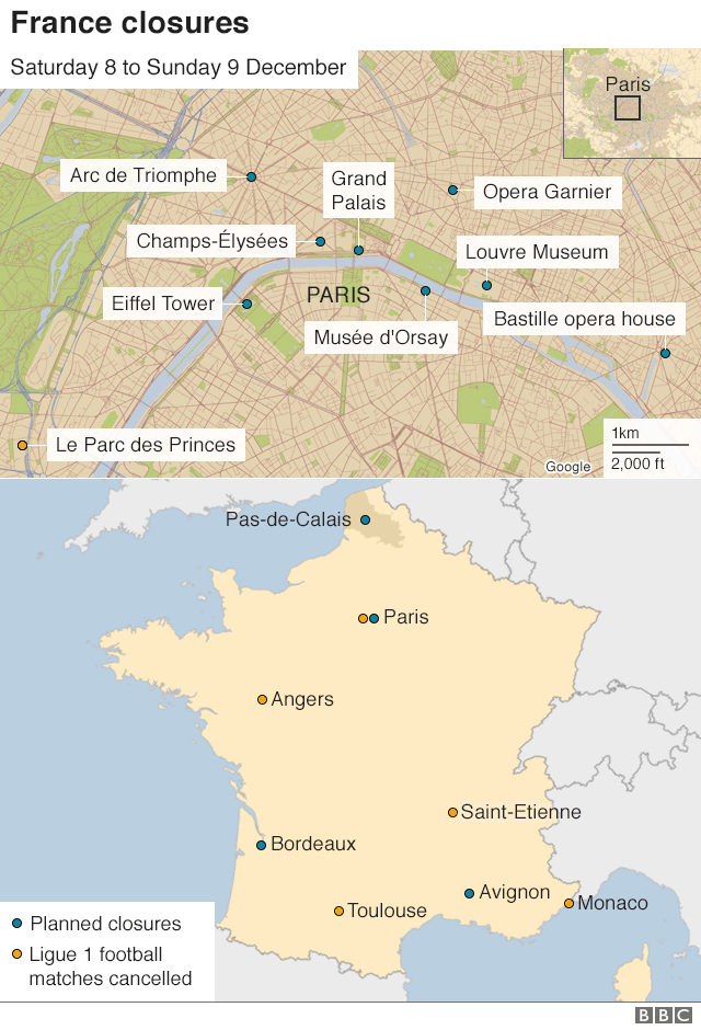 Map of Paris and France highlighting where closures will happen on Saturday 8 and Sunday 9 December