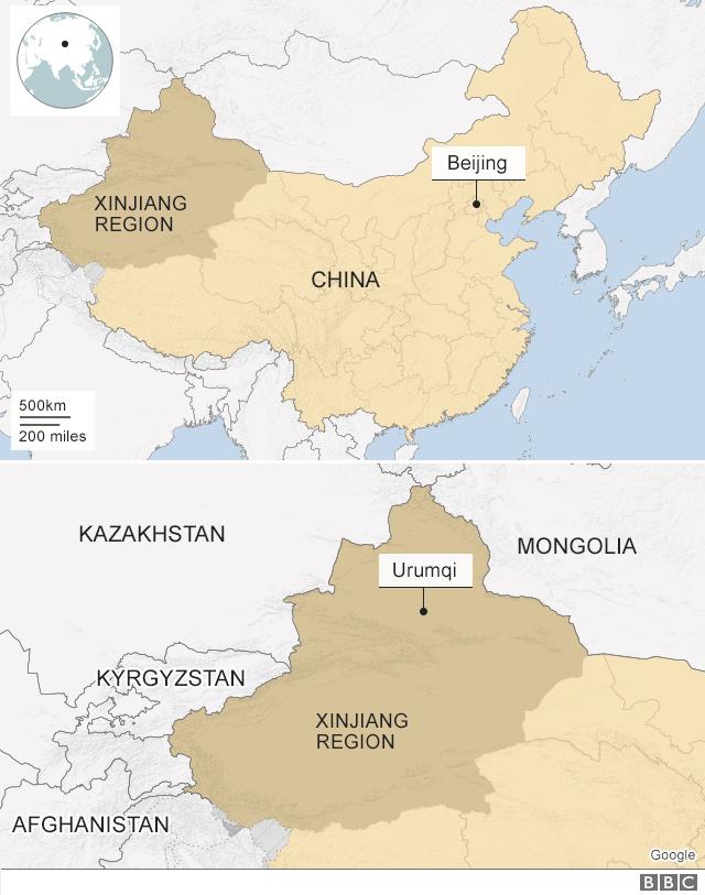 A map showing the Xinjiang region