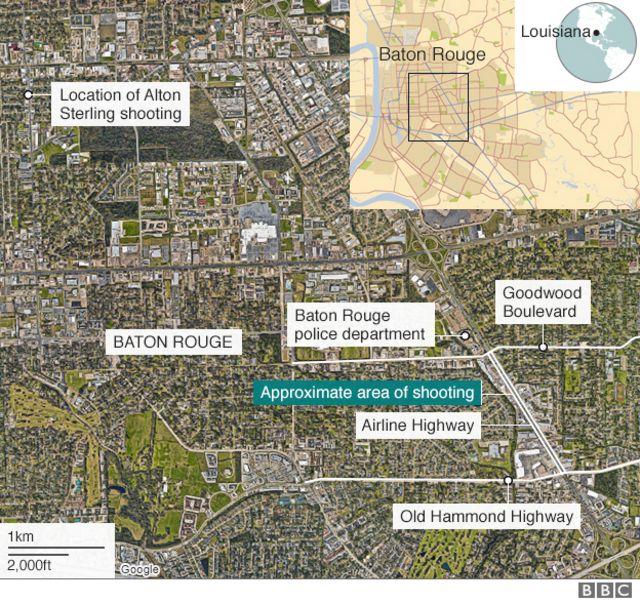 バトンルージュ市の地図(緑印が今回の銃撃があったとみられる地域)