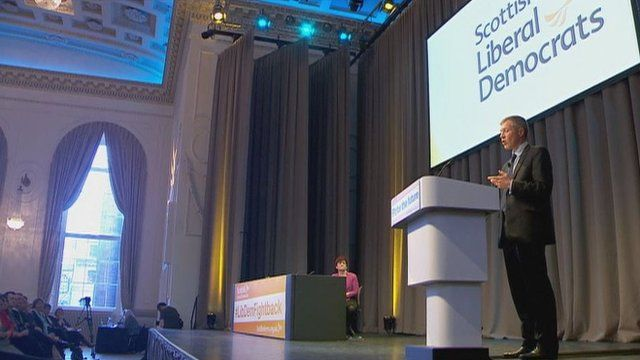Willie Rennie addresses the Scottish Liberal Democrats conference