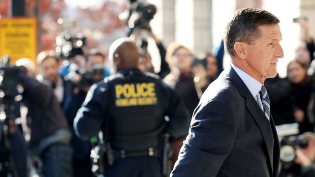 Michael Flynn, former national security advisor to President Donald Trump, arrives for his plea hearing at the Prettyman Federal Courthouse
