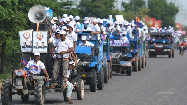 Đoàn người ủng hộ CPP tuần hành trên khắp các đường phố của Campuchia