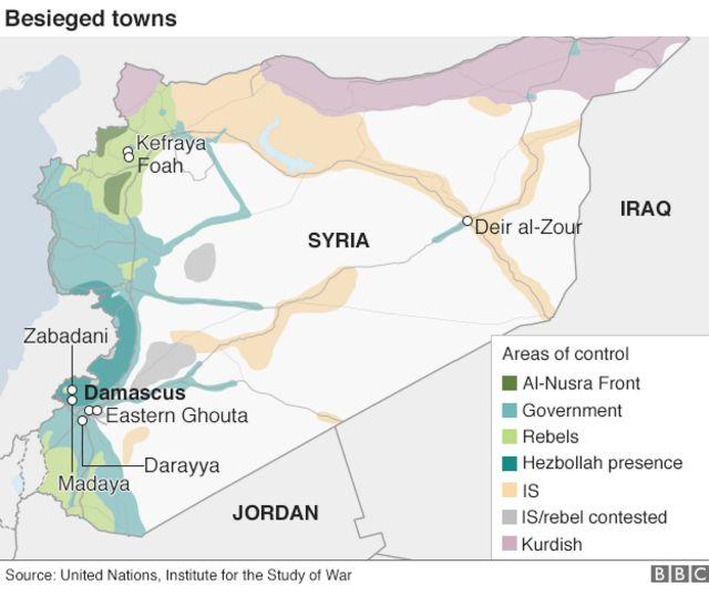 シリアの各勢力の支配地域