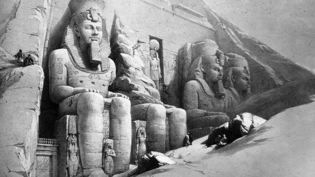 لوحة من أعمال ديفيد روبرت لمعبد ابو سمبل