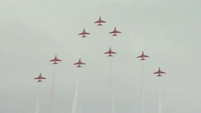 The Red Arrows performing at Clacton air show