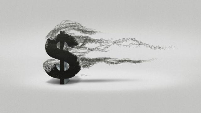Ilustración que muestra un dólar deshaciendose.