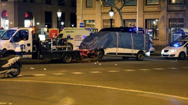 รถตู้ที่คนร้ายใช้ในการก่อเหตุโจมตีในนครบาร์เซโลนา