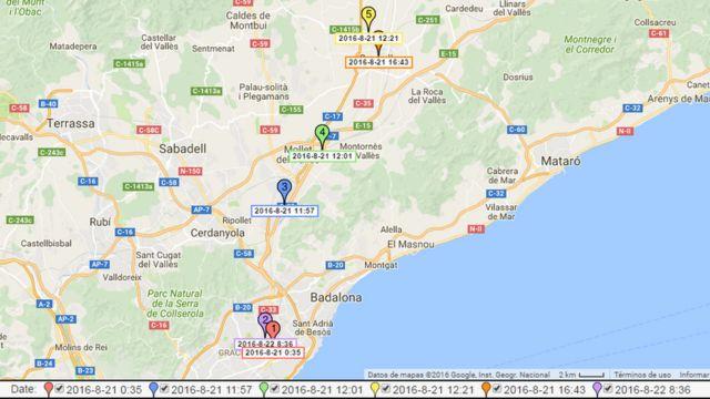 Mapa elaborado por los dos ingenieros españoles que muestra los lugares exactos en los que estuvo un usuario de Tinder a lo largo de un día.