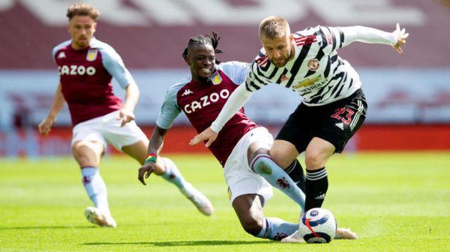 Aston Villa's Bertrand Traore challenges Manchester United's Luke Shaw