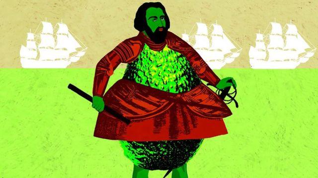 conquistador con cuerpo de aguacate
