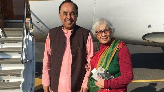 સુબ્રમણિયન સ્વામી તેમના પત્ની સાથે