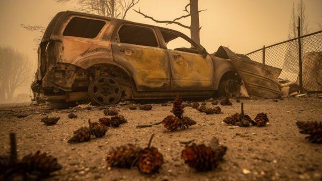 Burnt car in Greenville.