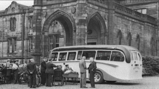 Bus outside hospital