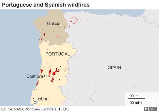 map of fires in portugal and spain