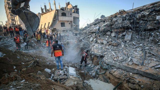 Ruinas en Gaza tras los bombardeos.
