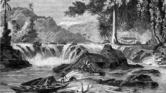 Engraving of a river in British Guyana