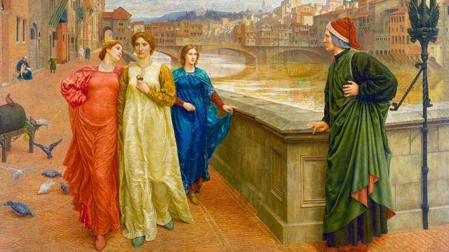 Henry Holiday (1839-1927), Dante y Beatriz en Florencia, 1882-4,