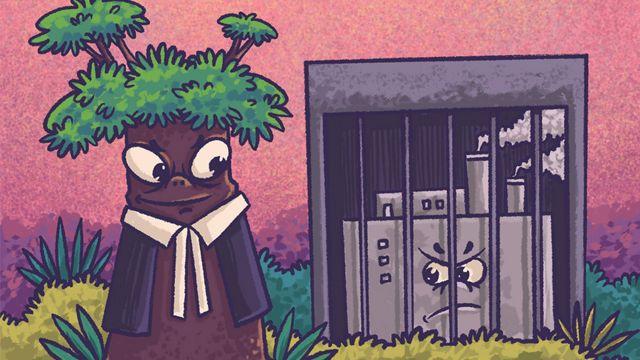 Ilustración de un árbol disfrazado de abogado mirando a una fábrica contaminadora detrás de las rejas de una cárcel