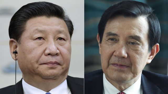 Composite image of China's President Xi Jinping and Taiwanese President Ma Ying-jeou