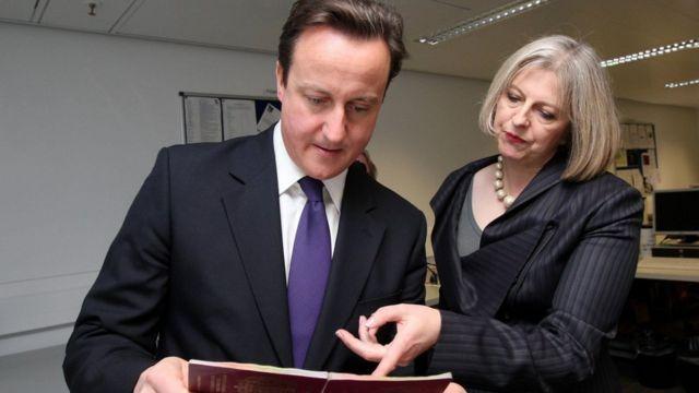 Theresa May y el primer ministro del Reino Unido, David Cameron