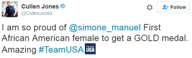 """A tweet from Cullen Jones reads: """"I am so proud of @simone_manuel First African American female to get a GOLD medal. Amazing #TeamUSA"""""""