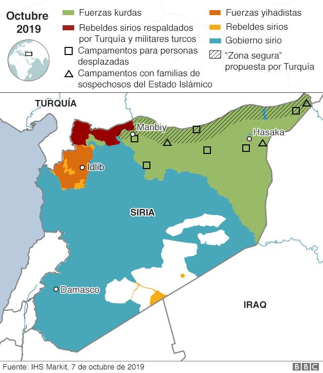 Mapa de Siria y sus países vecinos