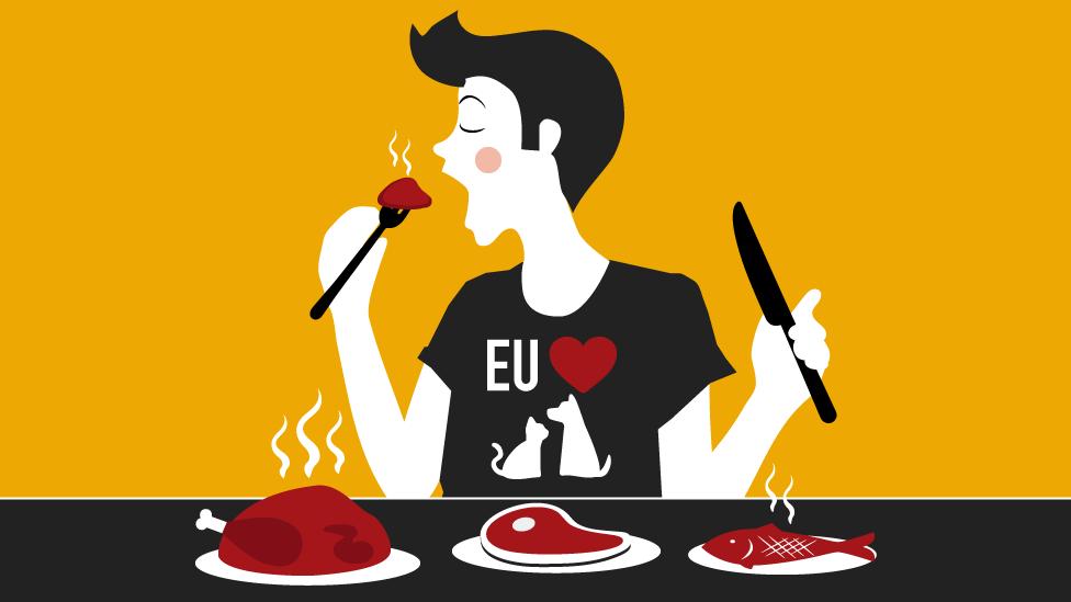 Ilustração que mostra homem comendo carne