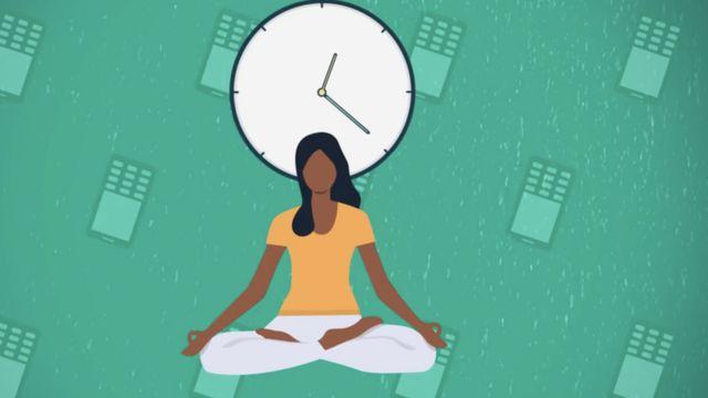 Una ilustración que muestra a una mujer sentada en posición de yoga frente a un reloj