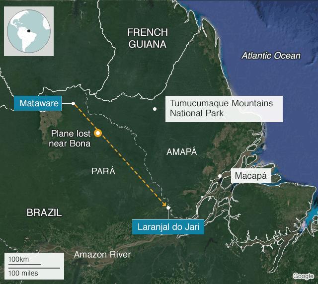 Map showing flight of PT-RDZ