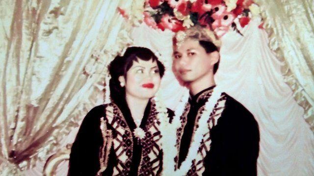 Iwan and Halila on their wedding day