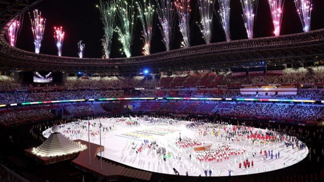 General view inside the stadium as fireworks are set off during the Opening Ceremony of the Tokyo 2020 Olympic Games at Olympic Stadium on July 23, 2021 in Tokyo, Japan.