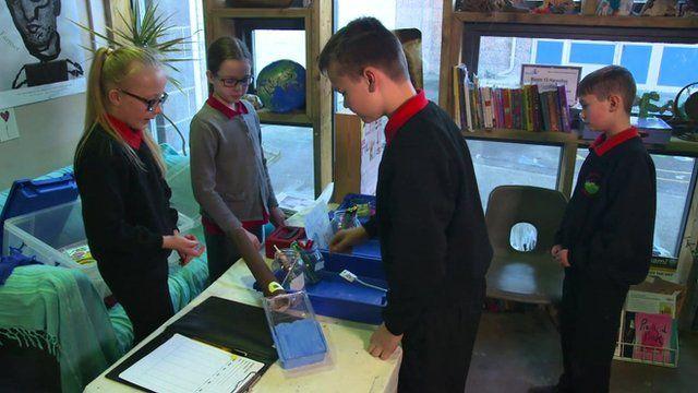 Pupils at a school art shop