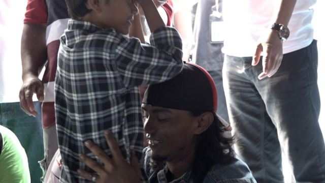 Fikri and his dad when reunited