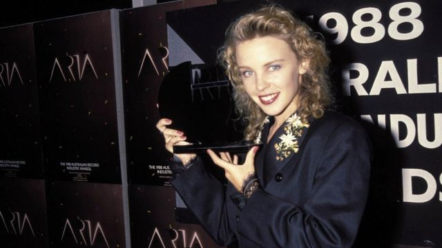 Singer Kylie Minogue at the 1989 Aria Awards in Sydney