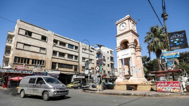 Clock Square in the rebel-held Syrian city of Idlib (25 August 2018)