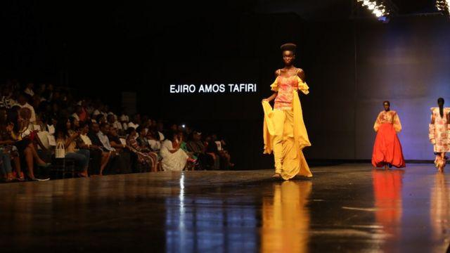 "Ejiro Amos Tafiri design for part of di ""Dew collection"" wey follow chook eye for mental health"