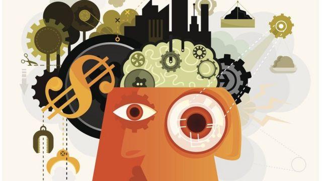 Ilustración que muestra una cabeza llena de mecanismos