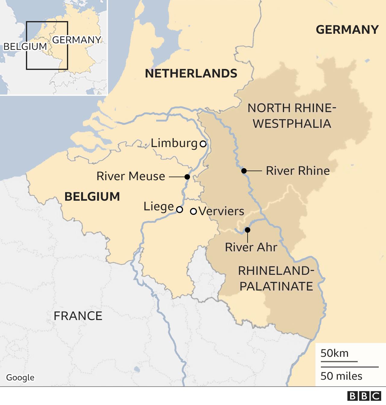 Mapa de inundaciones de Alemania: