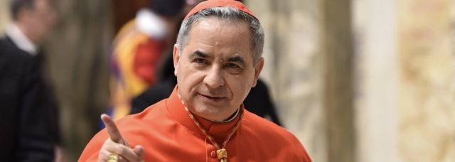 Giovanni Angelo Becciu from Italy, attends the courtesy visit of relatives following a consistory for the creation of new cardinals on June 28, 2018