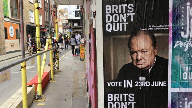 Cartaz pró-UE usa imagem de ex-premiê Winston Churchill, que buscou aliados na Europa
