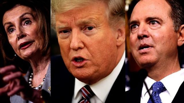Nancy Pelosi kushoto, trump katikati na Mitch McConnel
