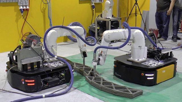 Des robots mobiles coopèrent à l'impression 3D de grandes structures