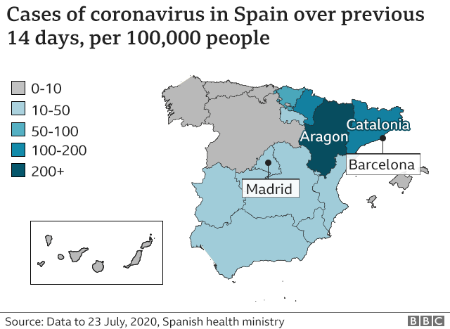 Map showing prevalence of coronavirus cases in Spain