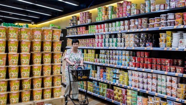 Noodles in shop