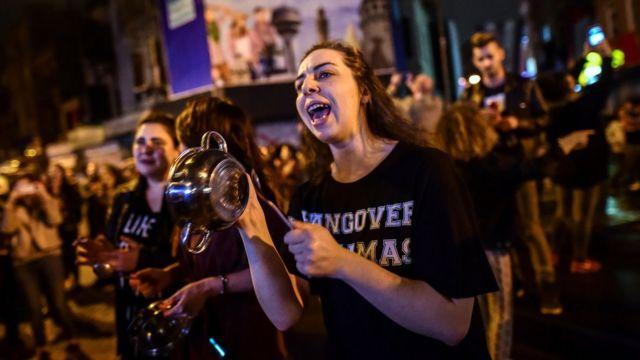 """Manifestantes a favor del """"No"""""""