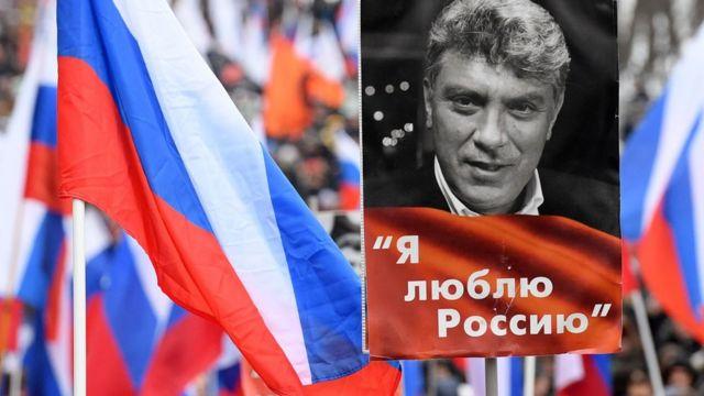 Демонстрация, портрет Немцова