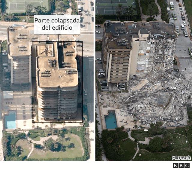 Antes y después del edificio colapsado en Miami Beach.