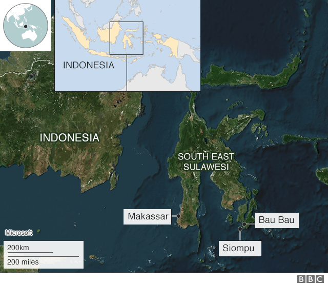 A map showing the towns in Indonesia